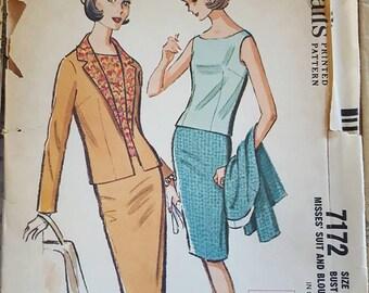 Vintage Misses Suit and Blouse Pattern McCalls 7172 Size 10 NEW UNCUT