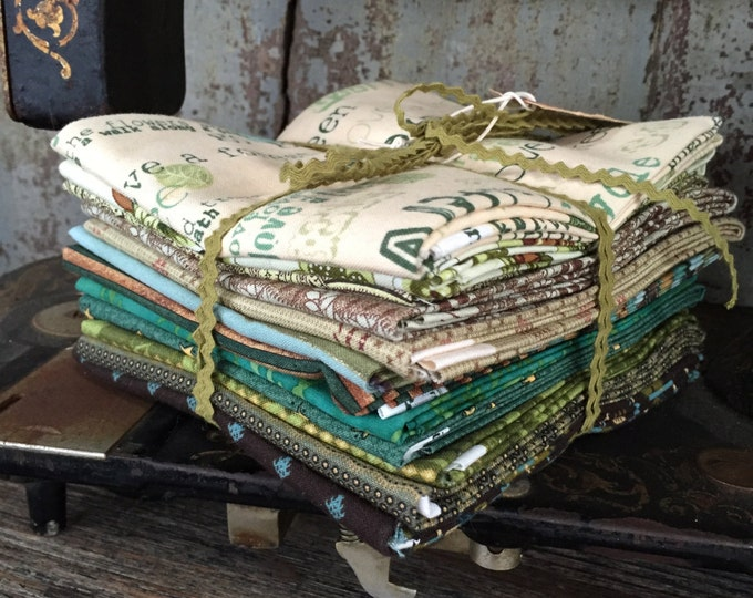 Featured listing image: Fabric: Fat Quarter Big Bundle Green Theme 12 Pack