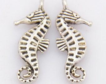 4 Antiqued Tibetan Silver Sea Horse Charms