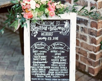 Chalkboard Easel/Wedding Chalkboard/Chalkboard with Stand/Baby Shower Chalkboard/Chalklettering/Chalkboard Sign/1920s Wedding