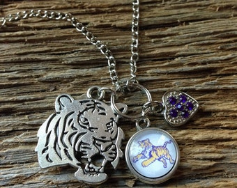 LSU Tigers necklace: silver tiger head, Purple Heart, and jumping tiger LSU necklace