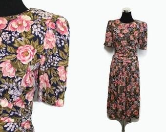 Black Floral Dress  / 80s Floral Print Dress / 40s Style Dress S