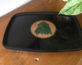 Vintage Couroc tray with plant