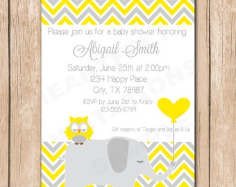 Owl and Elephant Baby Shower Invitation - Neutral, Yellow - 1.00 each printed or 10.00 DIY file