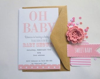 Oh Baby Modern Polka Dot Baby Shower Invitations x 12