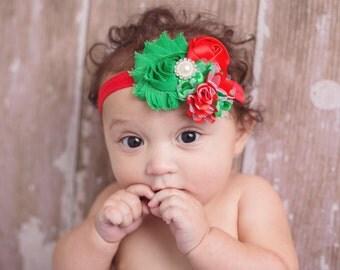 Christmas headband, baby headband, xmas headband, baby first christmas, red and green headbands, holiday bows, infant headbands, 1st xmas