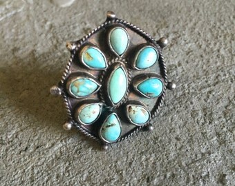 Vintage Large Turquoise Silver Cluster Ring