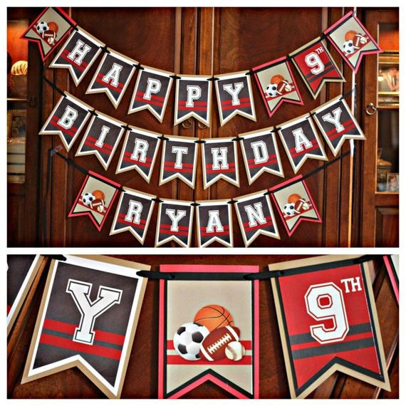 Boy All Sports Happy Birthday Banner. Fully Assembled And
