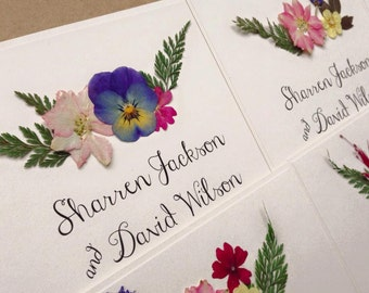 Floral Wedding Invitation. Boho Rustic invites with real pressed flowers on Kraft card