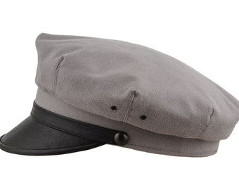 Retro Rockabilly Elvis Style Motorcycle Hat Pure Cotton and Natural Leather - ash grey / black