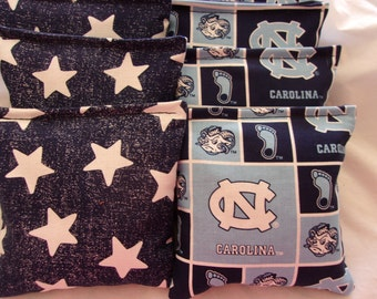 8 ACA Regulation Cornhole Bags - Handmade from University of Carolina Tarheels Fabric and Big Stars