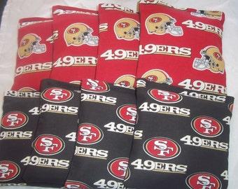 8 ACA Regulation Cornhole Bags - NFL San Francisco on 2 Different Prints