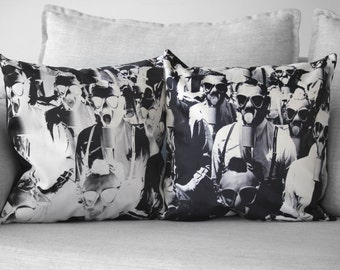 "gas mask print - 18"" velveteen pillow case - set of 2 pillows - photo and negative print"