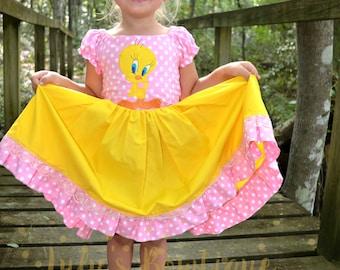 Inspired by Tweety Bird yellow and pink polka dot dress, Birdy Birthday Dress