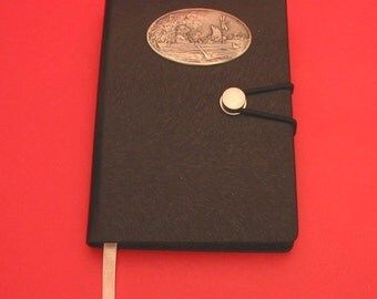 Wind in The Willows Hand Cast Pewter Motif Plaque on A6 Black Journal Book Ratty & Mole Christmas Gift