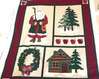 Northwood Noel Christmas Wallhanging Cotton Fabric Panel Santa, Cotton Fabric Panel Woodland Lap Quilt, Door Fabric Cover, Red Cut & Sew