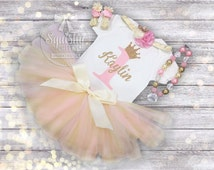 1st Birthday Girl Outfit Pink and Gold Birthday Outfit, Princess Tutu Birthday Outfit Includes: Top, Tutu, Necklace, Headband, Sandals