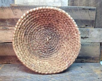 Vintage Woven Chinese Basket, Round, Handmade