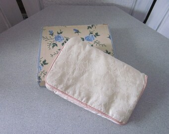 1940s Ivory Damask Lingerie Pouch with Original Box