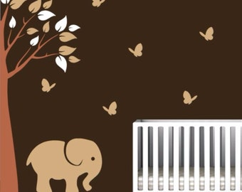 Baby Room Tree Decals With Corner Tree, Elephant, And Butterflies