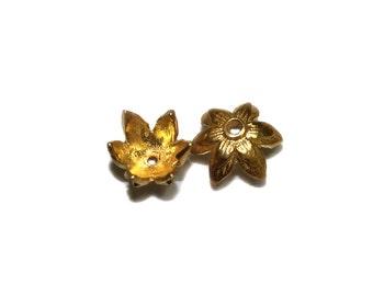 Two 22 Karat Gold Vermeil Bali Bead Caps. 2 x Gold Vermeil Bead Caps. Two Gold Vermeil Bali Bead Caps