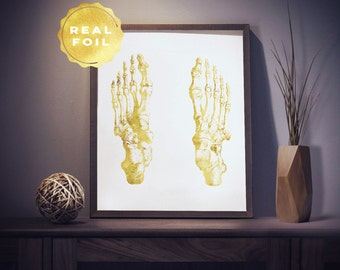 Foot Art Anatomy 4x6 - 5x7 - Human Anatomy - Anatomy Art - Medical Art - Bone Art - Medical Office Decor - Medical Student Gift