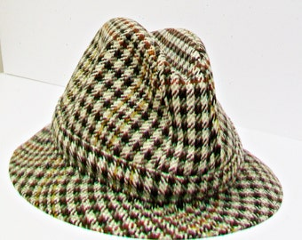 Vintage SCOTT & CO Hatters to the King Houndstooth Check Fedora Hat 6 7/8 /56 Men's Headwear Fashion Accessory  Durham London Line England