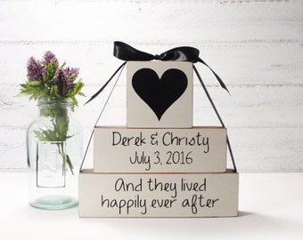 3- Block Stack- Wedding- And They Lived Happily Ever After Custom-Painted Wooden Blocks-Country Decor-Shabby
