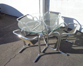 Arcadia Jerry Johnson Dining Set Mid Century Modern MCM Chairs Table Chrome Chrome Retro Regency Vintage Midcentury Chair Seating Milo Metal