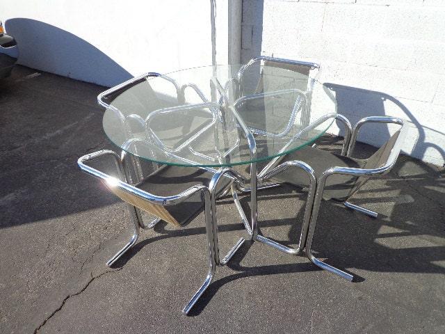 Arcadia Jerry Johnson Dining Set Mid Century Modern MCM Chairs Table Chrome  Chrome Retro Regency Vintage Midcentury Chair Seating Milo Metal