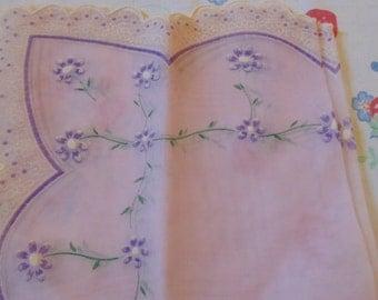 Vintage Lavender Floral Handkerchief Vintage Hankies Ladies Handkerchief Hanky