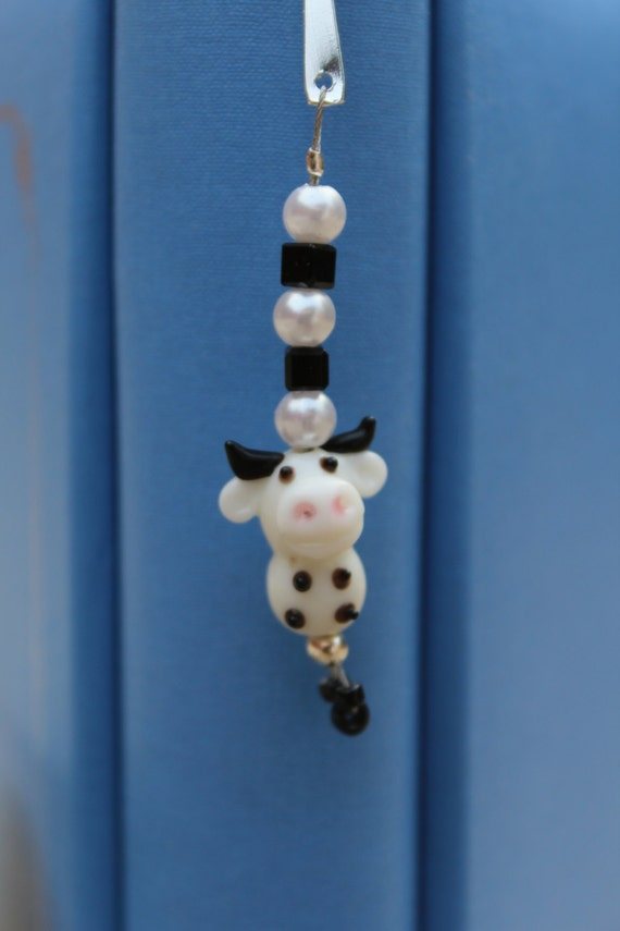 Nursery Rhyme Bookmark, Farm Animal Bookmarker, Beaded Metal Bookmark, Cow Gift Idea