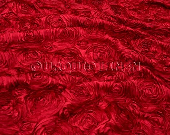 Rose Satin in Red - Decorative Fabric With A Rose Embroidery Throughout - Best for Weddings, Bridal Parties, and Events