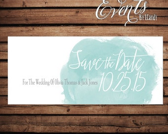 Wedding Save-the-Date Printed Postcard - Teal watercolor