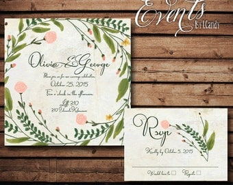 wedding invitations PRINTED - Wildflower invitation 59 and rsvp