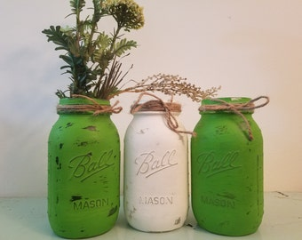 Distressed Green and White Mason Jar, Painted Mason Jar, Wedding, Baby Shower