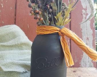 SALE! Halloween Mason Jar, Painted Mason Jar, Rustic Decor, Halloween Decor, Black Mason Jar, Holiday Decor, Orange and Black Decor