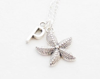 Silver Starfish Necklace, Sea Star Necklace, Personalized Starfish Pendant Necklace, Starfish Jewelry, Beach Wedding necklace, Gift