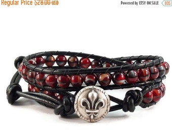 On Sale Leather Wrap Bracelet Red and Black Glass Beads Fleur de Lis Beaded Jewelry