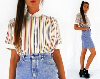 80s striped blouse, short sleeved shirt, hipster shirt, red blue yellow, vertical stripey, vintage Debenhams, Medium UK 12