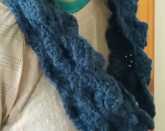 Hand crocheted teal blue cowl