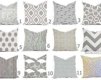 Gray Pillow Covers - Gray and White Throw Pillows - Gray Decorative Pillows - Gray Euro Sham - Gray Couch Accent Pillows