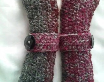 Crochet Fingerless Gloves-Gray and Red Variegated