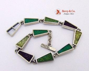 SaLe! sALe! Vintage Sterling Silver Geometrical Bracelet Inlay Decorations