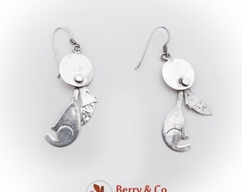 Howling Wolf Figural Dangle Earrings Sterling Silver