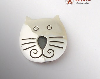 Engraved Cat Head Brooch Sterling Silver