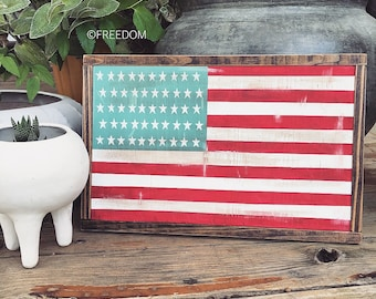 Framed American Flag sign|Farmhouse|Handpainted|Patriotic|Freedom|America