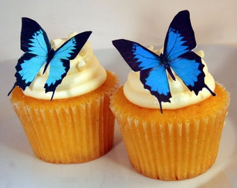 Edible Butterfly Cake Decorations, Blue and Black Edible Butterflies, Set of 12 DIY Cake Decor, Edible Cake Decorations, DIY Wedding Cake