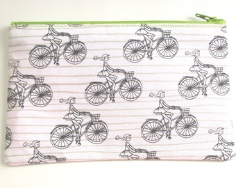 Girl on Bicycle Fabric Pencil Pouch // Bicycle Pencil case // Bike zipper pouch
