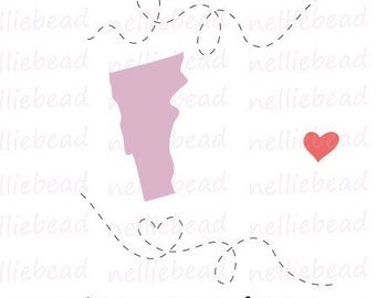 Vermont State SVG Digital cut files - Long Distance Relationship - Use with Cricut or Silhouette Studio